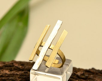 Geometric ring, bars ring, parallel lines ring, mixed metals ring, index finger ring, long brass ring, gold tone jewelry