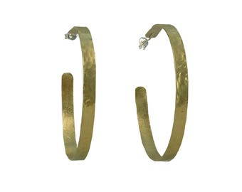 Large gold or silver post hoop earrings, 2 inches hoops , brass jewelry, shiny thin stud hoop earrings