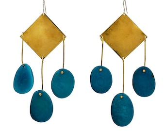 Turquoise extra large tagua nut earrings, long beaded 4 inches gold chunky earrings, statement tribal  large earrings