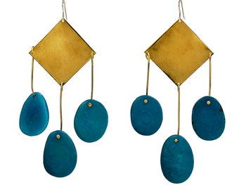 Turquoise extra large tagua nut earrings, long beaded 4 inches gold or silver chunky earrings, statement tribal  large earrings