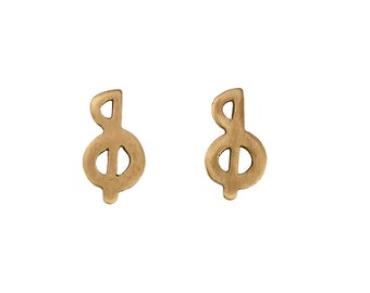Small music note stud earrings , gold treble clef studs,  musician gift under 20
