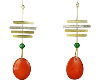 Long  orange  tribal personalized earrings, gold linear statement earrings, tagua nut large boho earrings