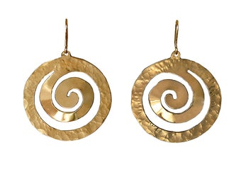 Gold large 2 inch circle dangle earrings,  boho round disc simple errrings, brass hammered geometric jewellery
