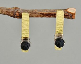 Black gold bar stud earrings, custom brass stud earrings,  lava Santorini rectangular earrings
