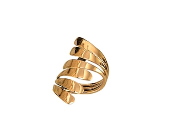 Gold long overlapping finger ring,  triple wrap full finger ring, open large index ring ready to ship