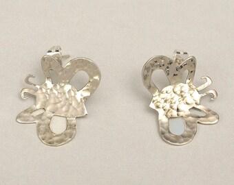 1 inch butterfly stud earrings , 25 mm wings silver earrings, gift for her under 25