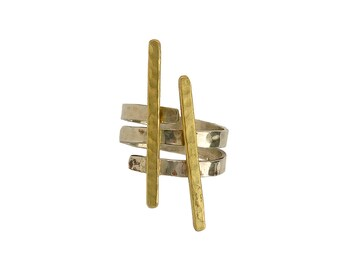 Mixed metals middle finger ring, minimalist index finger ring, asymmetric contemporary ring,  designer hammered jewelry
