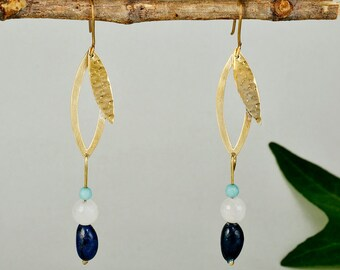 Gold leaf dangle earrings, navy beads  nature inspired earrings, seed bead jewelry