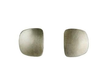 Sterling silver 2 cm square earrings, long rectangular stud earrings, minimalist plain post earrings