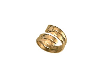 Gold pinky ring, hammered band, little finger ring, unadorned band,  brass jewelry, ring finger ring, wrapped around ring, by pass ring