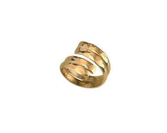 Gold or silver wrapped around ring, double hammered pinky ring,  stacking wide ring finger ring