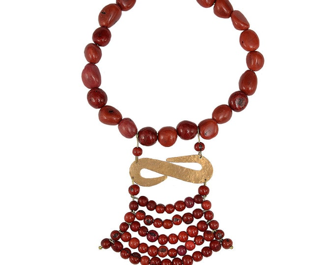 Featured listing image: Red gold statement necklace, Cleopatra artisan tagua nut choker, unusual  women gift