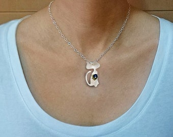 Sterling silver cat chain pendant necklace, cat lover gift, lady cat long kitty necklace