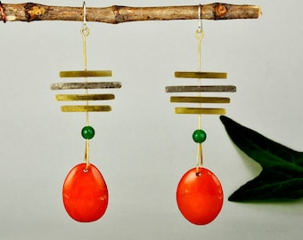 Long  orange  tribal earrings, gold linear statement earrings, tagua boho jewelry