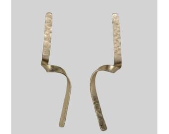 Long wavy 4 in stud earrings,  silver or gold twisted earrings, statement modern jewelry