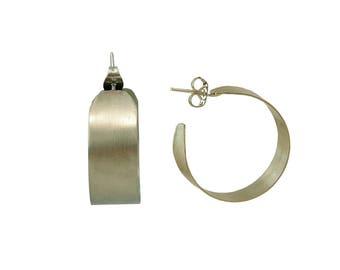 Silver small hoop earrings, wide hoop, custom jewelry, unadorned hoops, 1 inch hoops, medium size loop, matte jewelry, alpaca jewelry