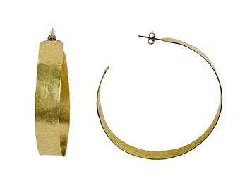 Gold extra large thick hoops, XL wide chunky large hoops, brass tribal earrings, jumbo creole hoops
