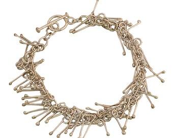 Sterling silver charm bracelet, chain plain modern bracelet, elegant statement wedding jewelry