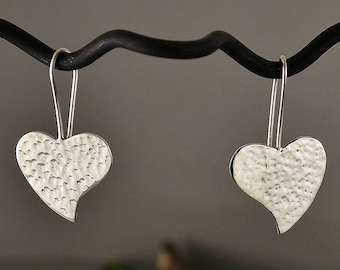Sterling silver 30 mm heart  hammered earrings, silver dangle 1 in drop  heart earrings,  silver heart jewelry, romantic gift under 30
