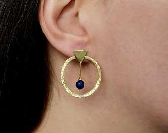 Brass or silver blue jade stud hoops,  blue stone thin medium size hoops,  geometric jewelry, minimal  earring,