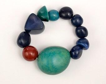 Navy and turquoise tagua nut bracelet , bold big statement bracelet, stretch large beaded bracelet