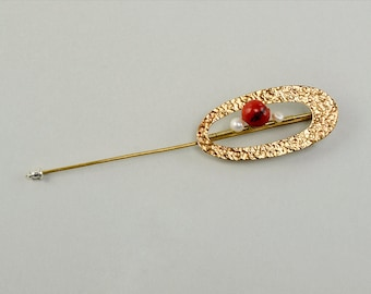 Gold open oval pearl brooch, long red bead brooch,  scarf or coat brooch