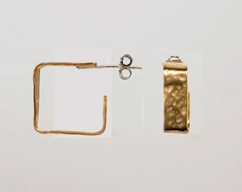 Gold  square hoop earrings ,  small cuff wide hoops,  geometric mini stud hoops