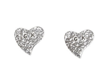 Sterling silver hammered letter heart posts, monogram heart love jewelry, two initial alphabet custom stud earrings