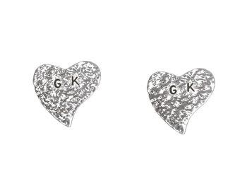 Sterling silver hammered letter heart posts, monogram heart love jewelry, two initial alphabet custom stud earrings, valentines earrings