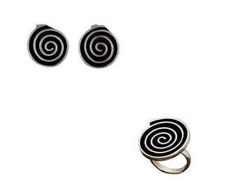 Greek spiral ring  earrings set, silver disc circle jewelry, set boho ring  stud earrings