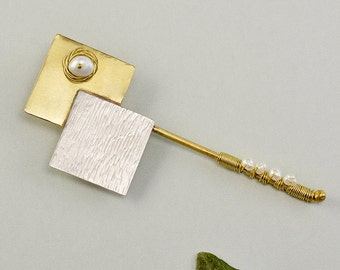 Mixed metals pearl brooch, silver brass square brooch,  3 inch long breast pin,