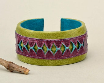 Green leather cuff bracelet, wide bracelet, leather wrist band, unique bracelet, leather with fabric, leather jewelry, purple cuff