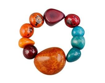 Tribal orange turquoise big stretch bracelet, chunky  tagua nuts bracelet  jewelry, boho large women  bangle