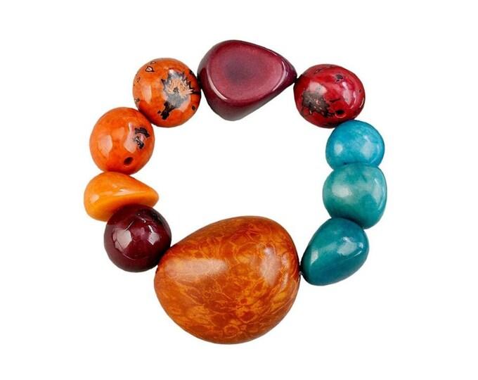Featured listing image: Tribal orange turquoise big stretch bracelet, chunky  tagua nuts bracelet  jewelry, boho large women  bangle