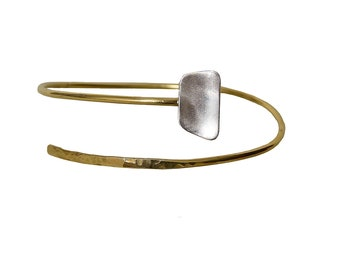 Thin stacking small rectangle bracelet  , brass and sterling silver cuff bracelet, open wrap dainty cuff bracelet