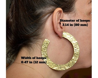 Gold 3 inches african hoop earrings, statement extra large thick hoops, hammered wide tribal hoops, brass jewelry
