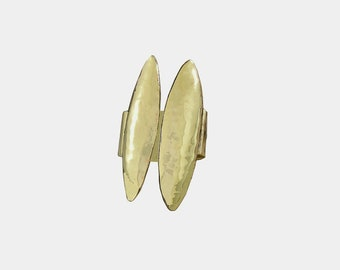 Open front gold long hammered boho ring for women , bohemian brass index or middle finger ring