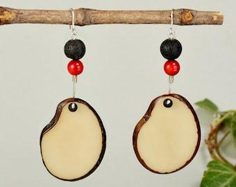 White large dangle oval earrings, sterling silver teardrop  tagua earrings, organic bohemian jewelry