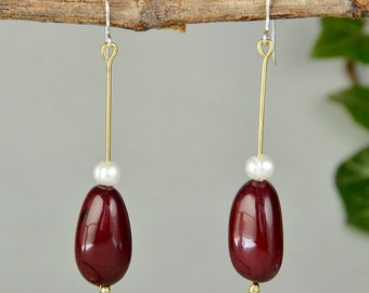Seed bead earrings, dangle earrings, long beaded earrings, garnet tagua nut, tagua jewelry, pearl earrings, bridesmaid gift, wedding jewelry