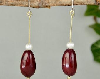 Seed long tagua eco chic earrings, garnet  pearl oval earrings, bohemian tribal jewelry