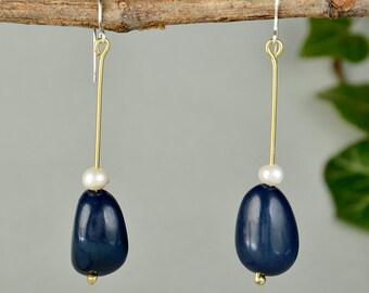 Navy blue pearl tagua earrings, teardrop beaded jewelry, boho ethnic long oval earrings