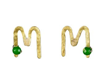 Initial M stud earrings, gold personalized stud, silver stud, alphabet letter stud, handmade monograms, green jade post, custom stud errings