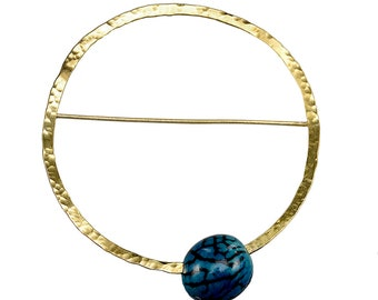 Large gold open circle brooch, 3 in or 8 cm beaded pin, hammered geometric jewelry