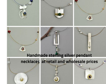 Wholesale silver necklaces, silver pendant necklaces, sterling silver, making jewelry, boho necklaces, geometric necklaces, long necklaces