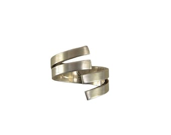 Sterling silver open front ring, solid wrap around finger ring, crossover wide plain band ring
