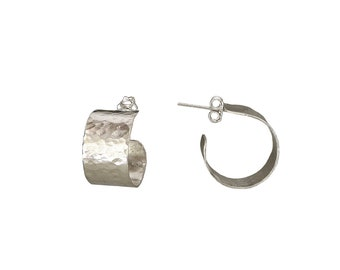 Small hoops, sterling silver hoops, wide hoops, thick earrings, petite studs, mini hoops, hammered jewelry, 15 mm hoops, gift under 30