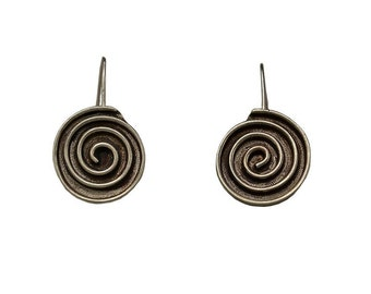 Silver big circle dangle earrings, coil solid karma gold stud earrings , spiral disc woman stud earrings