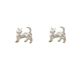 Sterling silver cat earrings, little cat stud, tiny cat posts, silver cat jewelry, animal earrings, animal stud, cat lover gift, feline stud