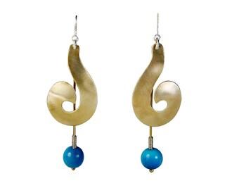 Large gold dangle earrings, turquoise swirl statement jewelry, boho wide tribal earrings