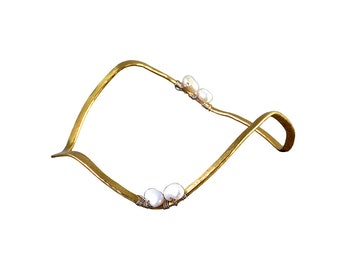 Silver or gold pearl delicate cuff bracelet, dainty  stacking bangle, hammered wedding jewelry